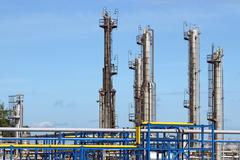 refinery petrochemical plant industry zone - stock photo