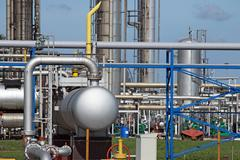refinery petrochemical plant pipelines industry zone - stock photo