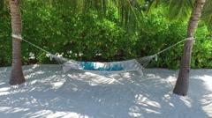 Hammock between palm trees on tropical beach Stock Footage