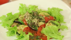 Boiled octopus with grilled vegetables Stock Footage