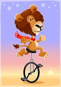 Stock Illustration of Funny lion on a monocycle
