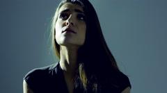 Heart broken woman feeling sad portrait in darkness 4K Stock Footage