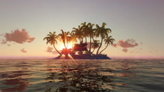 Beautiful sunrise over the tropical island in the ocean. Stock Footage
