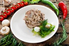 Restaurant food. Meat Salad with quail egg - stock photo