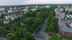 Green square in the center of Pulawy //AERIAL FOOTAGE// Stock Footage