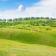 Mountainous terrain and the blue sky Stock Photos