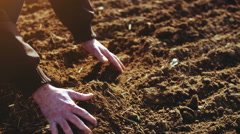 Farmer examining soil. Agriculture background. Stock Footage