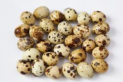 Several small yellow quail eggs lie on a white background - stock photo