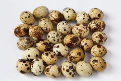 Several small quail eggs lie on a white background - stock photo