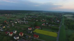 Central Europe, the village with a bird in the morning //AERIAL FOOTAGE// - stock footage