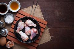 Preparation for making deep fried chicken wings - stock photo