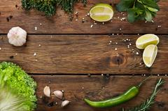 Green food background, rustic wood with copyspace Stock Photos