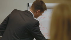 Young male businessman , orator, conducts lectures , training courses in Odessa Stock Footage