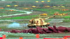 Two 152 mm howitzers 2S19 Msta-S. Russia Stock Footage