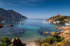 Elevated view of yachts anchored in bay, Girolata, Corsica, France Stock Photos