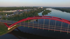 John Paul II Bridge,Pulawy //AERIAL FOOTAGE// 04 - stock footage