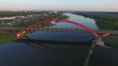 John Paul II Bridge,Pulawy //AERIAL FOOTAGE// 03 - stock footage