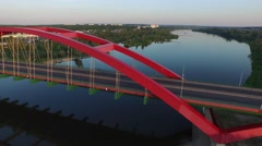 John Paul II Bridge,Pulawy //AERIAL FOOTAGE// 05 - stock footage