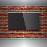 Vector TV on red brick wall. Ideal and creative background Piirros