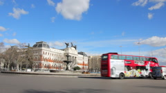 Cars traffic near to edifice of Ministry of Agriculture in Madrid. Timelapse - stock footage