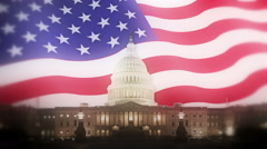 Capitol Building Night USA Flag Motion Background Stock Footage