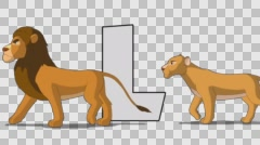 Letter L and  Lion  (foreground) Stock Footage