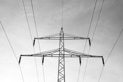 Power tower, black and white concept - stock photo