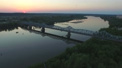 Old bridge over the River Vistula in the city of Pulawy //aerial footage// Stock Footage