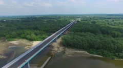 Overflying built a bridge over the river //AERIAL FOOTAGE// Stock Footage