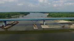 Aerial: Bridge over the River Vistula Stock Footage