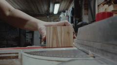 Wood processing workshop, man is working in workshop Stock Footage