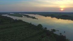Shot from the air on the Vistula River at sunset Stock Footage