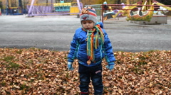 Child playing with autumn leaves - stock footage