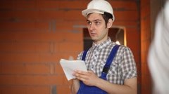 Builder thinks about the project Stock Footage