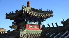 Roof charms figures (walking beasts) on the pavilions of Summer Palace. Beijing Stock Footage