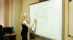 Girl working with diagram on interactive board Stock Footage