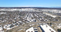 Aerial view of urban park with business park in the Winter. Stock Footage