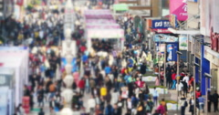 4k timelapse Huge Crowd Of blur People walking on china business street,QingDao Stock Footage