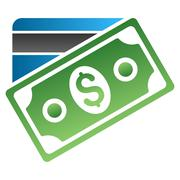 Banknote and Credit Card Gradient Vector Icon - stock illustration