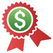 Financial Guarantee Seal Gradient Vector Icon - stock illustration