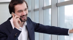Telephone Conversation During a Break Stock Footage