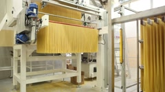 Spaghetti machinery in an italian pasta factory Stock Footage