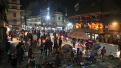 Indra Chowk intersection in Kathmandu at night Stock Footage