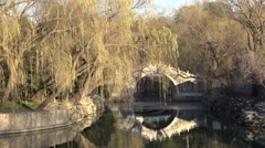 Stone arc bridge over the canal in Summer palace. Beijing, China Stock Footage