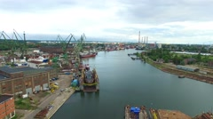 Panorama at the shipyard in Gdańsk //aerial footage// Stock Footage