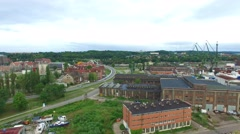 City of Gdańsk industrial district //aerial footage// Stock Footage