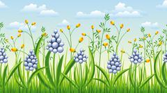 Seamless spring flowers nature background - stock illustration