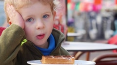 Stock Video Footage of Young Boy Has No Appetite For Waffles.
