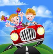 Cartoon Kids Driving Car - stock illustration