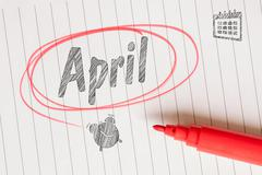 April month memo note Stock Photos